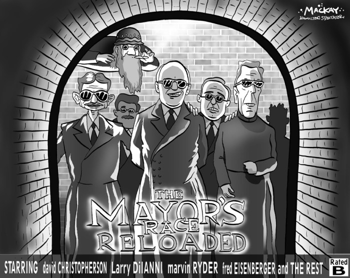 "Editorial Cartoon by Graeme MacKay, The Hamilton Spectator Ð Wednesday May 14, 2003 Matrix: The MayorsÕ Race Reloaded GET ready to plug in and re-enter the Matrix. What could be the biggest movie opening of the year kicks off Thursday night with midnight screenings across the country of The Matrix Reloaded - the long-awaited sequel to 1999's sci-fi blockbuster The Matrix. ""We're expecting it to be amongst the biggest films of all time,"" said a spokesman for the film's distributor, Village Roadshow. The Matrix and its two sequels, of which Reloaded is the first, were shot mostly in Sydney, whetting an already voracious local appetite for Keanu Reeves' computer hacker hero Neo and the sage-like resistance leader Morpheus, played by Laurence Fishburne. ...Meanwhile, the mayoral race in the city of Hamilton continues. Hamilton, parody, Larri de Ianni, David Christopherson, Marvin Ryder, Fred Eisenberger, Michael Baldasaro, Matrix, Mayoral, race"