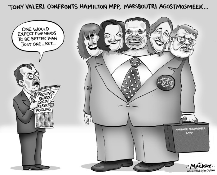 "Editorial Cartoon by Graeme MacKay, The Hamilton Spectator Ð Thursday March 17, 2004 Hamilton's Provincial Duds Perhaps Hamilton's five representatives to Queen's Park -- Judy Marsales, Dominic Agostino, Marie Bountrogianni, Jennifer Mossop and Ted McMeekin -- should be known as MIAs rather than MPPs.Harsh? Perhaps. But on the issue of the crushing costs to municipalities of downloaded social service, we have yet to hear any of our government members offer any significant support, let alone aid. While Hamilton pleads to an indifferent premier, our MPPs have been mostly silent. Yes, the downloading was by a different Queen's Park regime, and perhaps some or all of the ""Hamilton Five"" are working behind the scenes as Dalton McGuinty tries to balance promises with fiscal realities. But in the absence of any of them publicly championing Hamilton's cause, Mayor Larry Di Ianni is left sticking his neck out as he proposes an economic ultimatum to the province. Without $19.5 million for social services, Hamilton will not balance its budget, he says. Confrontation with the premier and his ministers has its risks, since municipalities essentially exist at the will and whim of the provincial government. But playing nice hasn't worked for two past mayors, and the stars-are-aligned promise of having a unified caucus of Hamilton MPPs has so far not delivered in any consequential way. (Source: Hamilton Spectator) Hamilton, QueenÕs Park, Toni Valeri, Judy Marsales, Dominic Agostino, Marie Bountrogianni, Jennifer Mossop, Ted McMeekin, social service, pooling, Ontario, Liberal, Flamborough, Flamboro, MPP, amalgamation, Liberal, AncasterÑDundasÑFlamboroughÑAldershot"