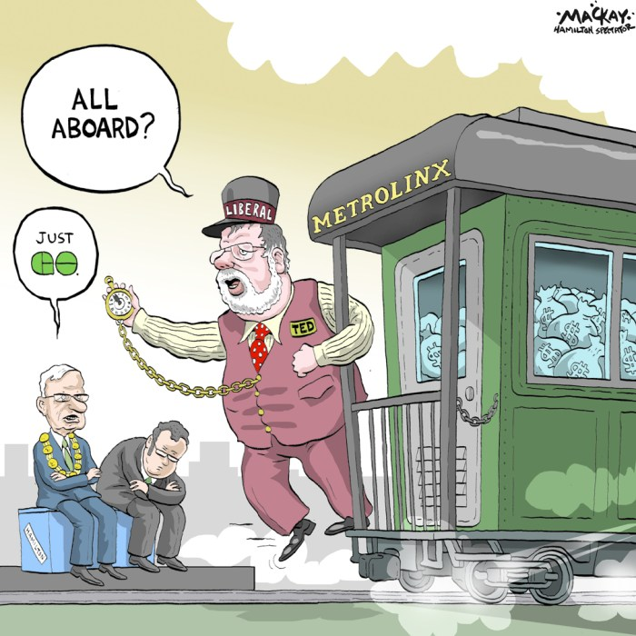 Editorial Cartoon by Graeme MacKay, The Hamilton Spectator Ð Friday July 22, 2011 Touch and GO on LRT MPP Ted McMeekin says thereÕs little chance Hamilton will land Light Rapid Transit unless the city makes it a priority.ÒMy read on LRT, put very simply, is weÕll take our cues from the City of Hamilton,Ó he said. ÒLet me say it as bluntly as I can: If LRT is not a priority for the city council and the citizens it represents, the province is highly unlikely to come to the table with big bucks to do it.Ó McMeekinÕs comments mark the second time this week a provincial official has stressed the importance of the cityÕs enthusiasm and desire for securing LRT. Earlier this week, Metrolinx, the regional transportation agency in charge of rapid transit, said public support will be Òcritical to successfully implementing the rapid transit this region needs.Ó Those comments come after City Manager Chris Murray and Mayor Bob Bratina signalled a move away from pursuing LRT in favour of prioritizing all-day GO service. Part of that move was to suspend all non-essential work on LRT, which means a study of development possibilities along the LRT line will be cut short and the number of city staff working on LRT will shrink from six or seven to one. This week, LRT advocates have raised concerns about how the cityÕs apparent cooling on the issue would be affected by comments from city hall. However, in contrast to his comments earlier this week, Bratina said Thursday that LRT is a priority. (Source: Hamilton Spectator) Hamilton, QueenÕs Park, Metrolinx, GO transit, Bob Bratina, Chris Murray, tain, conductor, transit