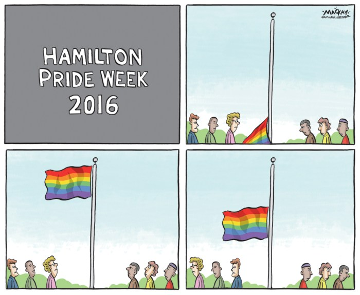 Editorial Cartoon by Graeme MacKay, The Hamilton Spectator Ð Tuesday June 14, 2016 Hamilton Pride Week follows deadly mass murder of gay night club in Florida The City of Hamilton and its LGBTQ Advisory Committee held a Pride Flag Raising Ceremony on June 13 from 12 to 1 p.m. in the Hamilton City Hall forecourt to kick off Pride Week 2016 and celebrate and honour Hamilton's LGBTQ community. The rainbow Pride and Trans Pride flags will fly at City Hall throughout Pride week. (Source.) http://www.thespec.com/community-story/6719440-hamilton-s-lgbtq-community-raises-the-pride-flag-monday/ Pride week was launched the Monday following a horrific mass shooting occurred on Saturday night in a gay night club in Orlando, Florida.ÊÊIt marked the deadliest mass shooting in the United States and the nation's worst terror attack since 9/11, authorities said. (Source CNN)Êhttp://www.cnn.com/2016/06/12/us/orlando-nightclub-shooting/ Hamilton, LGBTQ. LGBT, Pride, mass shooting, massacre, gay, ISIS, terrorism, hate