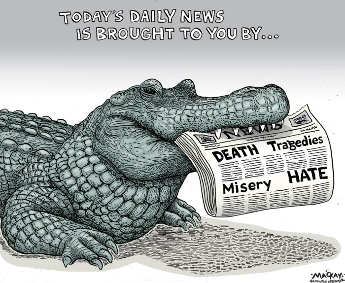 "Editorial Cartoon by Graeme MacKay, The Hamilton Spectator Ð Thursday June 16, 2016 Orlando Alligator Disney Death Is The Third Tragedy To Strike Florida City In Less Than A Week The day after the massacre at the Pulse gay nightclub, Mayor Buddy Dyer, called the tragedy ""the worst day in history of Orlando."" But the Pulse shooting is not the only misfortune Orlando has had to endure in the past few days. On Tuesday night, a 2-year-old boy was dragged away by an alligator at a Walt Disney World resort in the Central Florida city. The toddler, whose body was still being searched for more than 15 hours later, is believed to be dead. The incident is the latest in a spate of tragedies that has hit Orlando in one of the darkest weeks in the city's history, following the killing of singer Christine Grimmie Friday and the Pulse attack, the worst mass shooting in modern U.S. History. Grimmie, who finished in third-place on Season 6 of NBC's ÒThe Voice,Ó was shot to death Friday nightÊwhile giving autographs after her concert at the Plaza Live theater. Police have identified 27-year old Kevin James Loibl of St. Petersburg, Florida, as the gunman. Loibl, who was armed with two handguns and a large hunting knife, shot himself after opening fire on Grimmie. News of Grimmie's death sparked a national discussion about gun control, a conversation that was only amplified when the news of the Pulse attack hit less than 48 hours later. The attack on the gay nightclub occurred early Sunday morning when a lone gunman, identified as 29-year-old Omar Mateen, started firing at club patrons with an assault rifle and took hostages before SWAT teams stormed the building and gunned him down. (Source: International Business Times) http://www.ibtimes.com/orlando-alligator-disney-death-third-tragedy-strike-florida-city-less-week-2382618 USA, Florida, media, hate, tragedy, gun, shooting, press, death, depressing, news, Orlando"