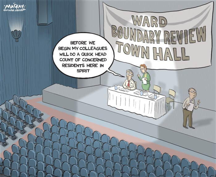 "Editorial Cartoon by Graeme MacKay, The Hamilton Spectator Ð Friday June 24, 2016 Should HamiltonÕs ward boundaries be redrawn to reflect areas of growth, perhaps even adding a 16th ward? The question is, should they remain or should they go? Not just in Britain Ñ although the Brexit debate has been kind of important, too. Should Hamilton's 15 ward boundaries remain the same or change? That has been the topic at a series of public meetings on the issue Ñ the most recent this week at Waterdown's Legion Hall. But the tepid turnout in Waterdown Ñ only three people showed Ñ and also last week at Tim Hortons Field, suggests residents may not be all that engaged. In fairness, ""Ward Boundary Review"" is a subject hardly guaranteed to reel in even the most civic minded on a long, warm summer night. And Mayor Fred Eisenberger predicted neither councillors nor constituents would have much enthusiasm to tackle the issue. But last spring council voted to hire consultants to undertake a boundary review Ñ at cost of $270,000 Ñ to explore if changes would better reflect shifting population patterns. For example, Ward 7 on the central Mountain has 62,000 residents while rural Ward 14 in Flamborough has about 17,000. Among the alternatives suggested by the consultants: rearrange wards to follow federal riding boundaries; reshape wards to better reflect population; add a 16th ward. One option (shown on the map) shows a proposed Ward 16 on the Mountain, and also redrawing Ward 15 so it would geographically be smaller than it is now Ñ essentially Waterdown on its own, defined by Milburough Line to the east, Concession 7 to the north, Hwy 6. and Millgrove Sideroad to the west, to roughly the Niagara Escarpment along the southern border. Ward 15 Coun. Judi Partridge, whose ward is about 70 per cent rural, says consultants are paying too little attention to criteria such as culture, heritage, and the natural environment, and focusing too heavily on population. She added that"