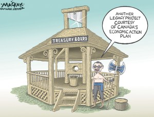 """Editorial Cartoon by Graeme MacKay, The Hamilton Spectator - Tuesday May 24, 2011 Clement won't rule out program cuts: reports Treasury Board head Tony Clement said he would consider shutting entire programs and shrinking the public service to help produce a balanced budget by 2014-2015, according to reports. Clement was named Treasury Board president on Wednesday, taking over from Stockwell Day, and is tasked with finding savings in other government departments to reduce the deficit, which is projected this year to be $29.6 billion. On Wednesday, Clement acknowledged that a preferred option for saving money would be through attrition, or cutting public service jobs when people leave or retire. But on Thursday, he elaborated, telling the Globe and Mail and Ottawa Citizen newspapers that cuts could mean entire programs are shuttered. Programs that might have been important 30 years ago may no longer be the best way to spend public money today, he said. Patty Ducharme, the national executive vice-president for the Public Sector Alliance of Canada, the largest public sector union, said she was not surprised by the news. Ever since the government first talked about reducing staff through attrition, public service unions have said such a plan was not possible or practical. """"I'm dismayed though, given the fact that what this government has been saying leading up to the election was that there would be job reductions, but those reductions would come through attrition and nothing more than attrition,"""" Ducharme said. """"One day into the job and now he's telling the truth. Thanks Tony."""" Ducharme said she was at a loss as to which government programs might be targeted. (Source: CBC News)Êhttp://www.cbc.ca/news/canada/ottawa/clement-won-t-rule-out-program-cuts-reports-1.1036385 Canada, Conservative,Tony Clement, Muskoka, G8, Summit, gazebo, spending, cuts, austerity, executioner, guillotine"""