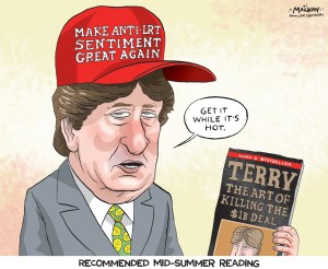 """Editorial Cartoon by Graeme MacKay, The Hamilton Spectator - Wednesday July 27, 2016 LRT report not about Ôus-and-themÕ says Whitehead A Mountain councillor says a report his office authored to challenge Hamilton's plan for a $1-billion light rail line in the lower city is meant to offer """"sober second thought"""" as the project moves forward. """"What is the best net benefit to the community at large?"""" Coun. Terry Whitehead told The Spectator's editorial board Monday. But just hours after Whitehead released his report, Christopher Higgins, one of its key sources, released viaÊTwitterÊscathing feedback of the Ward 8 councillor's 58-page effort. Higgins publicized an annotated version of Whitehead's report early Monday, discrediting it for using study material """"cherry-picked for maximum effect rather than to present a balanced analysis."""" That, Whitehead said, was """"unprofessional."""" """"Who does a peer review on Twitter for all to see?"""" Whitehead said he and assistant Howard Rabb, who co-authored the report, had asked for Higgins' feedback before publication, but that the researcher said he was pressed for time and heading to China. Higgins, a post-doctoral researcher at McMaster University's Institute for Transportation and Logistics, said a """"role for MITL as peer reviewer was mentioned, but never acted upon."""" Whitehead rejected the report lacks context, saying links to PDFs of full studies it cites are just a click away on its host microsite.Ê The work isn't meant to be scientific, but an attempt to find answers, he added: """"I'm not doing a scientific study, let's be clear."""" During the editorial board meeting, Whitehead said the report isn't about ward politics, either. """"This is not an us-and-them thing, as much as people want to pigeonhole me on that."""" Rather, theÊreportÊÑ which questions projections for ridership, land values, development spinoff and system efficiency Ñ is meant to foster a more """"fulsome"""" take on the project. Whitehead argues staff has presente"""