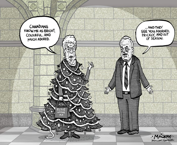"Editorial Cartoon by Graeme MacKay, The Hamilton Spectator Ð Thursday January 30, 2003 Sweating the Sweater Stuff Defence Minister John McCallum came under a barrage of unfriendly fire yesterday when he made a ""flippant"" remark about Tory MP Elsie Wayne's glistening sweater. The comment came after Wayne asked the minister if special paint to identify Canadian armoured vehicles in the battlefield would be used to ensure our soldiers didn't become victims of friendly fire. ""What steps has the minister of defence taken to obtain the necessary marking system to avoid any more tragic losses?"" Wayne asked as the sequined pattern in her black sweater shimmered under the Commons lights. ""If our soldiers were to wear the dress of the honourable member ... they would be very well identified,"" shot back McCallum to the laughter of some Grit MPs. ""It was a sexist remark and it was a remark that trivialized a very serious question - quite literally about the life and death of Canadian Forces in service,"" grumbled Tory Leader Joe Clark outside the Commons. A furious Wayne demanded an apology. (Source: CBC News) Canada, Elsie Wayne, clothing, Christmas, John McCallum, Parliament, sexismÊ"