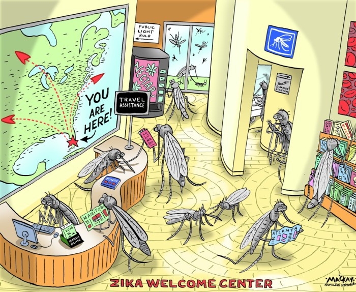 Editorial Cartoon by Graeme MacKay, The Hamilton Spectator Ð Wednesday August 3, 2016 CDC issues historic travelÊwarning over Miami ZikaÊoutbreak The Centers for Disease Control and Prevention issued an unprecedented travel warning Monday, advisingÊpregnant women and their partners not to travel to a small community just north of downtown Miami,Êwhere Zika is actively circulating. This is the first time the CDC has warned people not to travel to anÊAmerican neighborhood for fear of catching an infectious disease, according to agency spokesman TomÊSkinner. The warning came after 10 additional people in Florida were found to have been infected with Zika virusÊafter being bitten by local mosquitoes, bringing the total to 14.Ê Florida Gov. Rick Scott and CDC Director Dr. Tom Frieden announced the development in separate newsÊconferences Monday. The new cases were found by door-to-door surveys of 200 people in their homesÊand businesses, and they were identified by urine and blood samples that tested positive for the virus or anÊantibody.Ê Late last week, Florida state health officials confirmed that fourÊpeople had contracted Zika from mosquitoes in theÊsame 150-square-meter area. It's a mixed-use development with upscale asÊwell as economically stressed businesses and homes, whichÊFrieden said complicates mosquito control efforts. (Source: CNN)Êhttp://www.cnn.com/2016/08/01/health/cdc-miami-florida-zika-travel-warning/ USA, Canada, Zika, Virus, mosquito, welcome, center, centre, migration, Brazil, Olympics