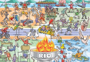 Illustration by Graeme MacKay - 2016 Summer Olympic Games - illustration used for the cover of a special section devoted to the sporting event held in Rio de Janeiro, Brazil. The process involved drawing and colouring the individual characters. Next was determining how they would best fit into a space roughly measuring 8.25 x 10.5 inches. (See Olympic-cover2). The background was chosen to be divided 5 ways: water, athletic indoor, athletic outdoor, track, and gymnastics.) Estimated completion time: 18hrs. Rio, 2016, Olympic, Games, Summer, Archery, badminton, basketball, beach volleyball, boxing, canoe, cycling, diving, equestrian, fencing, golf, field hockey, javelin, discus, shotput, relay, pommel horse, balance beam, uneven bars, gymnastics, breaststroke, sidestroke, butterfly, rowing, rugby sailing, shooting, synchronized, swimming, table tennis, taekwondo, tennis, water polo, weightlifting, wrestling, couch potatoes