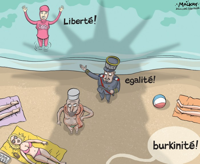 "Editorial Cartoon by Graeme MacKay, The Hamilton Spectator Ð Saturday August 27, 2016 The burkini is an option, not oppression, say those opposed to ban Recent attempts in France to ban the burkini have prompted protests and court challenges. Some of those who've defended the body-concealing swimsuit say that while they wouldn't wear one themselves and don't necessarily agree with the religious associations it carries, they will defend women's right to wear what they want. On Friday, the top court in France overturned one town's banÊon the burkini, a ruling that is likely to set a precedent across the country. The decision comes after several Muslim women were ordered to remove the body-covering swimwear on French beaches. Some burkini wearers were also issued fines. Sonu Kilam is the co-founder and designer at East Essence, an online store that sells modern and traditional Islamic clothes. East Essence started to sell burkinis about six years ago, she said, after receiving requests from customers Ñ specifically, Mormon customers Ñ who were looking for modest active wear. ""[We] came across the burkini and thought, 'Perfect, it will work for all our customers,'"" Kilam told CBC News from Newark, Calif. The company's various burkini options represent about 15 per cent of its sales, she said, and it's not only Muslim women ordering them. Kilam recently got an email from a Canadian woman who wrote, ""It's hard for women like me who are 40 or older and don't feel comfortable showing skin to find swimwear in Canada.Ó Other burkini customers include women with skin conditions, Kilam said, and the company recently made a custom burkini for a plus-size woman who wanted something to wear for water aerobics. There have been reports that burkini sales have increased since the controversy started, but Kilam said she hasn't noticed any significant changes. (Source: CBC News)Êhttp://www.cbc.ca/news/world/burkini-ban-follow-1.3736922 France, Burkini, Liberty, Equality, be"