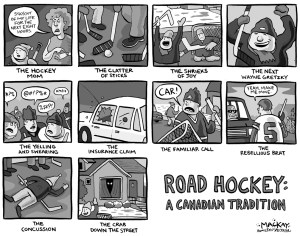 "Editorial Cartoon by Graeme MacKay, The Hamilton Spectator Ð Saturday, January 5, 2002 Road hockey: A proud Canadian sporting tradition or a dangerous nuisance? A Hamilton court will weigh in Monday on a father's fate after he played hockey with his kids on their street, infuriating a neighbour while breaking a bylaw that divides neighbourhoods nationwide. ""The bylaw says we stay off the street,"" said Nadia Ciuriak, whose garden has been invaded by countless stray hockey balls from Gary Kotar's kids over the years. ""If people want street hockey, the proper way of dealing with that is to go to city council and insist that the bylaw gets removed.Ó While Kotar's kids haven't caused any damage to their neighbour's property, it's the principle of breaking the bylaw and trespassing to retrieve errant balls that bothers Ciuriak. ""Initially I retrieved the balls from my garden, but then I decided I had other things to do, and I didn't want them going into my garden,"" said Ciuriak, who has lived with her mother and sister at the house for 40 years. Ciuriak also objects to the behaviour of some of the players on her street. (Source: Hamilton Spectator) Canada, Ontario, Hamilton, sport, hockey, play, road, road hockey, youth, exercise"