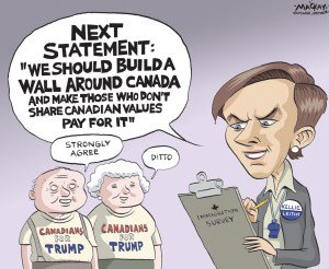 "Editorial Cartoon by Graeme MacKay, The Hamilton Spectator Ð Wednesday September 7, 2016 Kellie Leitch defends 'anti-Canadian values' survey question Conservative leadership candidate Kellie Leitch is defending a contentious survey question from her campaign team that asked supporters what they think about vetting would-be immigrants and refugees for ""anti-Canadian values.Ó The survey made headlines on Thursday, with at least one Conservative strategist calling for her to withdraw from the race. ""Canadians can expect to hear more, not less from me, on this topic in the coming months,"" Leitch wrote in an emailed statement. ""Screening potential immigrants for anti-Canadian values that include intolerance towards other religions, cultures and sexual orientations, violent and/or misogynist behaviour and/or a lack of acceptance of our Canadian tradition of personal and economic freedoms is a policy proposal that I feel very strongly about.Ó The rest of the survey, which was sent to those who signed up for news from the Leitch campaign, gauges support on a variety of issues, including electoral reform, corporate tax cuts and the legalization and regulation of marijuana for recreational use. One question refers to denying citizenship to someone who recants the pledge to the Queen after taking it; another asks about incarcerating terrorists instead of providing ""therapy and counselling.Ó ""Oftentimes, debating and discussing these complex policies requires tough conversations Ñ conversations that go well beyond media sound bites and simplified labels,"" wrote Leitch. ""I am committed to having these conversations, to debating theses issues, and I invite Canadians to give their feedback.Ó (Source CBC News)Êhttp://www.cbc.ca/news/politics/leitch-responds-survey-question-1.3746470 Canada, Kellie Keitch, Conservative, Party, leadership, dog whistle, immigration, Donald Trump, wall"