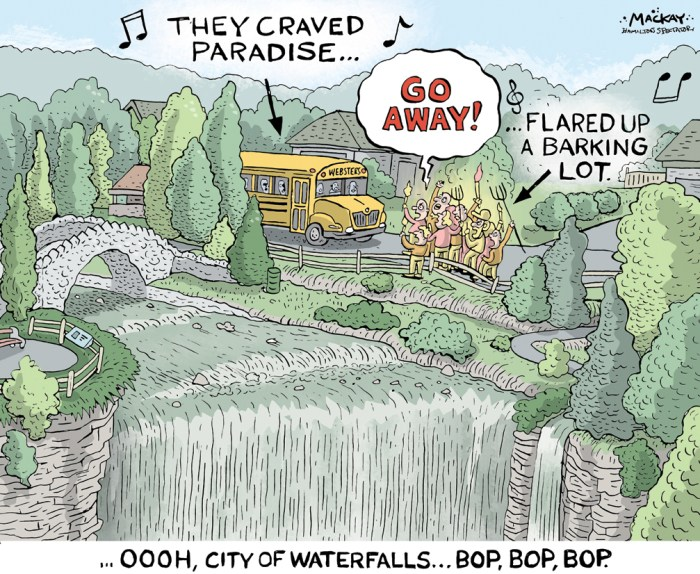 "Editorial Cartoon by Graeme MacKay, The Hamilton Spectator Ð Saturday September 17, 2016 Conservation authority kills Webster's Falls shuttle Fierce opposition has prompted the Hamilton Conservation Authority to park a planned shuttle service to Webster's Falls on weekends and holidays, at least for this year. Chief administrative officer Chris Firth-Eagland said although the bus service can be activated with a month's notice, it's thus far had a hostile reaction, fuelling a ""Scuttle This Shuttle"" petition campaign. That's given the service's private partners cold feet on what staff hoped could be a solution to the traffic congestion that has plagued the popular Greensville park in recent years, he said. ""They're quite concerned that the minute it doesn't work, they become then laughing stocks,"" Firth-Eagland told the conservation advisory board during a staff presentation on efforts to keep the park from being overrun by visitors. ""We don't sense that the community wants us to do this at all,"" he said. ""'War' has been used, that there will be war in response, and all those kinds of things. It's been very difficult for us.Ó Advisory board member Kristen Brittain, who lives in the area, said she's disappointed the shuttle won't get a trial run this year to see if it's viable or if people find ways to park in the area to avoid paying the $10 fee. ""Those are outspoken people,"" she said of the more incendiary responses to the service, which was to run from Mizener's Antiques and Flea Market on Highway 5. ""There are the quiet people that live there, too. I'm not a friend or foe (of the shuttle), but I'd be happy to at least give it a try.Ó Authority chair Robert Pasuta, councillor for the area, said he's hopeful new parking restrictions on weekends and holidays that were set to go before council for approval this week will help ease traffic tensions. (Source: Hamilton Spectator)Êhttp://www.thespec.com/news-story/6860667-conservation-authority-kills-webster-s-f"