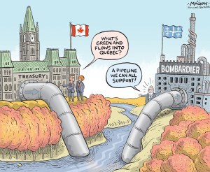 Editorial Cartoon by Graeme MacKay, The Hamilton Spectator Ð Thursday October 13, 2016 Federal Liberals signal desire for Ômeaningful investmentÕ in Bombardier The federal government investing in aerospace giant Bombardier is not a matter of if but how, Innovation Minister Navdeep Bains said Tuesday. ÒWe want to be a partner,Ó Bains said after announcing up to $54 million in funds for a Bombardier-led aerospace-research consortium. ÒWe want to find a solution and we want to continue to make meaningful investments. We want to be a partner, we are at the table, we want to find a solution. ItÕs not a matter of if but how we want to make the investment.Ó His comments are the clearest the Liberals have been to date regarding whether theyÕll accept the Montreal-based companyÕs request for $1 billion in federal funding. In early September, Bombardier (TSX:BBD.B) received the second of two instalments of US$500 million from the Quebec government. Quebec now owns 49.5 per cent of a new limited partnership of the CSeries aircraft program, including larger versions of the plane beyond the CS100 and CS300 should they be developed. Bains wouldnÕt give details as to exactly how much Ottawa will invest or where the money will be targeted. He did reiterate the conditions his government will place on any future funding. Ottawa wants Bombardier to keep its head office and the jobs connected to its research and development activities in the country, he said. (Source: Financial Post) http://business.financialpost.com/news/transportation/federal-liberals-signal-desire-to-invest-in-bombardier-but-dont-indicate-dollar-amount Canada, Ottawa, Parliament, Bombardier, aerospace, subsidy, corporate, welfare, Quebec, pipeline, Justin Trudeau, Navdeep Bains, philippe couillard