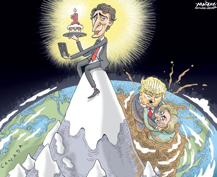 Editorial Cartoon by Graeme MacKay, The Hamilton Spectator Ð Wednesday October 19, 2016 Nearly two-thirds of Canadians approve of Justin TrudeauÕs Liberal government: Ipsos One year since the Liberals won the federal election, two-thirds of Canadians approve of the job Justin TrudeauÕs government has done, according to a new Ipsos poll conducted exclusively for Global News. ÒHeÕs very popular. If you look at leaders in the rest of the world, heÕs got numbers that any of them would envy,Ó said Darrell Bricker, CEO of Ipsos Public Affairs. ÒWeÕre finding 64 per cent of Canadians saying that they basically approve of his performance and the governmentÕs performance.Ó But although Trudeau is popular, his numbers arenÕt that different from the last time Canada elected a new government at the federal level. ÒPeople might say that Justin Trudeau is at an unprecedented level of public support, but we did the same poll with Stephen Harper in 2006 after one year of him being in power and he was at 62, so the difference is only two points, pretty much within the margin of error,Ó said Bricker. ÒSo I think when big change happens, after 10 years somebodyÕs in power, somebody new comes in and they deliver something different, people generally respond well to it. ThatÕs what we saw in the first year of Harper and itÕs what weÕre seeing in the first year of Justin Trudeau.Ó If TrudeauÕs government follows the same kind of public opinion trajectory, theyÕre in for a slow, steady drop: by the 2015 election, the Conservative approval rating had fallen to 41 per cent. (Source: Global News) http://globalnews.ca/news/3008087/nearly-two-thirds-of-canadians-approve-of-justin-trudeaus-liberal-government-poll/ Canada, Justin Trudeau, Hillary Clinton, Donald Trump, anniversary, popularity, mud slinging, selfie, mountain, map