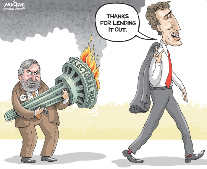 Editorial Cartoon by Graeme MacKay, The Hamilton Spectator Ð Friday October 21, 2016 Is Trudeau jockeying to avoid fulfilling promise on electoral reform? Is Justin Trudeau laying the groundwork for reneging on his promise to make the 2015 federal election the last to be conducted under the first-past-the-post voting system? Or is the prime minister trying to drive a hard bargain with the NDP and Greens to abandon their own ambitious preference for a proportional voting system and settle for a more modest change to a ranked ballot system? Those questions were touched off Wednesday by an interview Trudeau gave to MontrealÕs Le Devoir newspaper. In it, Trudeau said major electoral reforms would require ÒsubstantialÓ support. But he simultaneously argued that the public clamour for change seems to have diminished since the Liberals defeated Stephen HarperÕs Conservatives one year ago. ÒUnder the current system, (Canadians) now have a government theyÕre more satisfied with and the motivation to change the electoral system is less compelling,Ó he said. NDP Leader Tom Mulcair took that as clear evidence that Trudeau is preparing to break his promise on electoral reform. ÒI do believe that Mr. Trudeau is showing the type of cynicism that he used to always decry when he was in opposition,Ó Mulcair said. ÒWhat could be more cynical that to say, ÔYou know what? This is a totally unfair system because it allowed Stephen Harper to get a massive majority with only 39 per cent of the vote,Õ and then, exactly one year later, say, ÒOh, but by the way, itÕs a darn good system because it allowed Justin Trudeau to get a massive majority with just 39 per cent of the vote.ÕÓ (Source: Toronto Star)Êhttps://www.thestar.com/news/canada/2016/10/19/is-trudeau-jockeying-to-avoid-fulfilling-promise-on-electoral-reform.html Canada, Justin Trudeau, Thomas Mulcair, electoral reform, election, reform, electoral, torch, promise