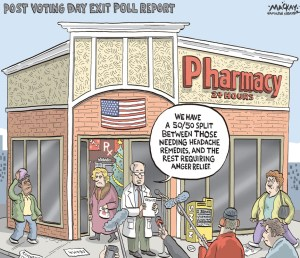 "By Graeme MacKay, Editorial Cartoonist, The Hamilton Spectator - Wednesday November 7, 2012 'The beginning of a new era in America' Pharmacy's poll finds split between headache and anger reliefÊ President Barack Obama's re-election Ñ in a ferocious campaign dotted by charges of racial anger and minority-voter suppression Ñ hasÊprovided what many blacks say will surely deepen his legacy: irrefutable evidence that his presidency is hardly a historical fluke as he hasÊnow won two national campaigns with overwhelming white support. Obama, the nation's first black president, was already soaked in history, a figure seen in the aftermath of his 2008 victory as theÊculmination of a decades-long civil rights crusade that suffered the assassination of beloved figures who fought and marched for the rightÊto vote and freely pursue the American dream. But Obama's first term as president also saw him pelted with racially charged denunciations Ñ some from politicians Ñ that reopenedÊfestering wounds and even fears in the African American community for his safety. At times it felt as if the W.E.B. Du Bois prophecy ÑÊthe problem of the 20th century would be the color line, he famously opined Ñ had leapt right into the 21st century. ""In many ways,"" said Lonnie G. Bunch III, founding director of the National Museum of African American History and Culture,Ê""Obama's reelection can be seen as resilience on the part of the African American community."" But Bunch admitted that he felt, as did many blacks in the waning weeks of the campaign, that Obama Ñ despite accomplishments in theÊwar on terrorism, a strengthening economy and passage of a universal-health-care law Ñ had been mercilessly castigated. There was jubilation on the streets of Washington with Obama's re-election. Janice Brown, 30, a staffing consultant who lives in Suitland,ÊMd., stood in a corner of Busboys and Poets restaurant, excited and relieved. ""It's awesome for America. Not only is he a great leader, butÊhe is in"