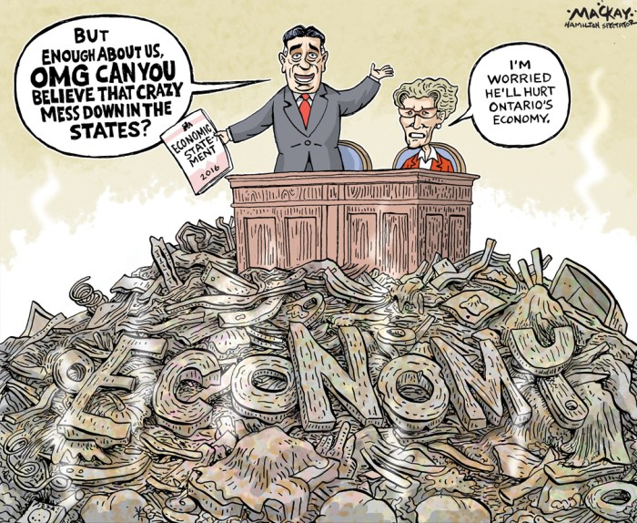 "Editorial Cartoon by Graeme MacKay, The Hamilton Spectator Ð Tuesday, November 15, 2016 Finance Minister Charles Sousa delivers fall economic statement The Ontario government is moving to double the maximum tax rebate offered to first-time homebuyers while boosting the land-transfer tax on house purchases above $2 million. Finance Minister Charles Sousa made the announcements in his fall economic statement, delivered in the provincial legislature on Monday afternoon. The changes are to take effect on Jan.1, 2017. ""Purchasing your very first home is one of the most exciting decisions in a young person's life, but many are worried about how they will be able to afford their first condo or house,"" he told the Legislature Monday. ""Improving housing affordability will help more Ontarians to participate [in the housing market].Ó Sousa said first-time buyers won't pay any land transfer tax on the first $368,000 of a purchase price, and they will become eligible for a rebate of up to $4,000 in provincial land transfer tax, levied on the purchase of every house and condominium. Meanwhile, the land-transfer tax rate on the amount of a purchase above $2 million will rise to 2.5 per cent, from the current rate of 2 per cent. Government officials say the tax increase on luxury homes will bring in about $105 million annually, and that will fund the increased rebate. New Democrat finance critic Catherine Fife called the fall economic statement ""a distraction"" from the top issue facing Ontarians Ñ soaring electricity rates Ñ and said Premier Kathleen Wynne had downplayed expectations of help for first-time homebuyers. ""Quite honestly, she was right to lower the expectations because what we see in this statement is neither new or profound or progressive,"" Fife told the legislature. (Source: CBC News) http://www.cbc.ca/news/canada/toronto/ontario-fall-economic-statement-charles-sousa-1.3849873 Ontario, economy, economic, statement, Kathleen Wynne, Charles Sousa, budget, finan"