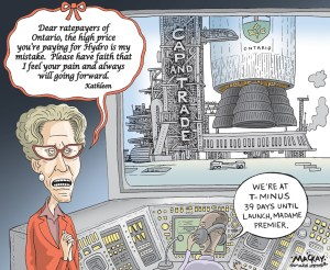 "Editorial Cartoon by Graeme MacKay, The Hamilton Spectator Ð Tuesday November 22, 2016 Wynne calls high electricity prices her ÔmistakeÕ Premier Kathleen Wynne is calling high electricity prices her ""mistake,"" sounding a note of contrition on one of the major issues threatening the Liberals' re-election bid in 2018. Amid the usual rallying of the troops at the Ontario Liberals' annual general meeting Saturday, Wynne addressed her poor popularity numbers, which she called the ""elephant in the room.Ó ""I think that people look at me and many of them think, 'She's not who we thought she was. She's become a typical politician. She'll do anything to win,'"" Wynne said. ""Frankly, I may have and I think I sometimes have given them reason to think that.Ó Wynne said part of convincing Ontarians that she wants to do what is in their best interests is admitting when she has made a mistake. ""People have told me that they've had to choose between paying the electricity bill and buying food or paying rent,"" Wynne said. ""That is unacceptable to me. It is unacceptable that people in Ontario are facing that choice. Our government made a mistake. It was my mistake.Ó An eight-per-cent rebate on electricity bills comes into effect Jan. 1, but Wynne said she will find more ways to lower rates and reduce the burden on consumers. After her speech, Wynne wouldn't point to any specific decision on the electricity file that she deems a mistake, but said her focus was on the big issues facing the system and she hasn't always paid enough attention to how costs were accumulating on people's bills. (Source: Hamilton Spectator)Êhttp://www.thespec.com/news-story/6975602-wynne-calls-high-electricity-prices-her-mistake-/ Kathleen Wynne, Ontario, Hydro, Cap and Trade, politics, honesty, taxpayer, rocket, launch"