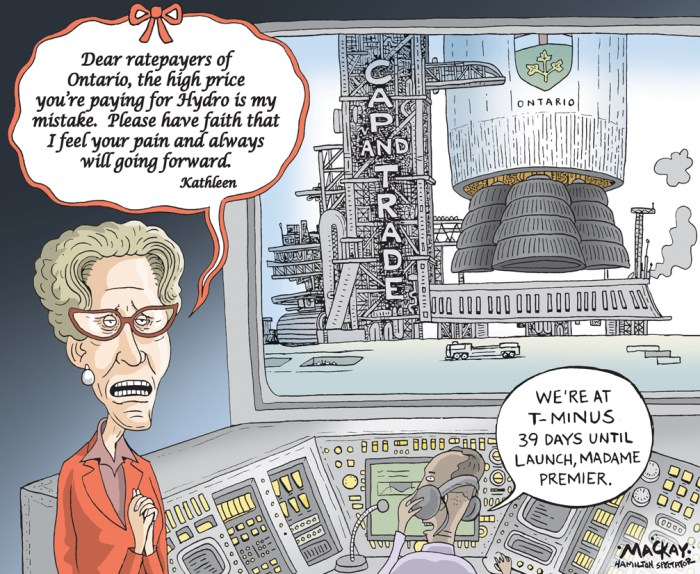 """Editorial Cartoon by Graeme MacKay, The Hamilton Spectator Ð Tuesday November 22, 2016 Wynne calls high electricity prices her ÔmistakeÕ Premier Kathleen Wynne is calling high electricity prices her """"mistake,"""" sounding a note of contrition on one of the major issues threatening the Liberals' re-election bid in 2018. Amid the usual rallying of the troops at the Ontario Liberals' annual general meeting Saturday, Wynne addressed her poor popularity numbers, which she called the """"elephant in the room.Ó """"I think that people look at me and many of them think, 'She's not who we thought she was. She's become a typical politician. She'll do anything to win,'"""" Wynne said. """"Frankly, I may have and I think I sometimes have given them reason to think that.Ó Wynne said part of convincing Ontarians that she wants to do what is in their best interests is admitting when she has made a mistake. """"People have told me that they've had to choose between paying the electricity bill and buying food or paying rent,"""" Wynne said. """"That is unacceptable to me. It is unacceptable that people in Ontario are facing that choice. Our government made a mistake. It was my mistake.Ó An eight-per-cent rebate on electricity bills comes into effect Jan. 1, but Wynne said she will find more ways to lower rates and reduce the burden on consumers. After her speech, Wynne wouldn't point to any specific decision on the electricity file that she deems a mistake, but said her focus was on the big issues facing the system and she hasn't always paid enough attention to how costs were accumulating on people's bills. (Source: Hamilton Spectator)Êhttp://www.thespec.com/news-story/6975602-wynne-calls-high-electricity-prices-her-mistake-/ Kathleen Wynne, Ontario, Hydro, Cap and Trade, politics, honesty, taxpayer, rocket, launch"""