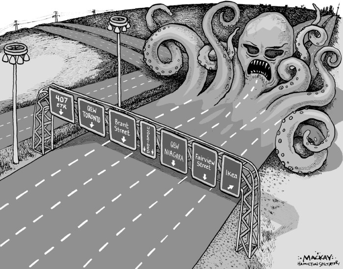 Editorial Cartoon by Graeme MacKay, The Hamilton Spectator Ð Tuesday October 30, 2001 Highway Mess There have been 80 accidents where Highway 407 meets Highway 403 in Burlington since the end of July.Ontario Provincial Police say only 10 of the accidents resulted in injuries, but all caused major traffic tieups and added to drivers' frustration. The 407 was supposed to move traffic through this area faster, not create more gridlock. The issue is the design of the 407 ETR (express toll route) access. The left lane on the non-toll Highway 403 flows directly on to the toll-charging 407. Drivers who aren't paying attention could find themselves either driving on the toll road or having to make a quick lane change to avoid it. These changes have been blamed for several minor collisions. The situation caused a public outcry when the 407 opened at the Freeman interchange in Burlington in August. The Ontario Transportation Ministry and 407 officials put up more signs that provide more advanced notice of the left lane becoming part of the 407 and this seemed to ease the situation. (Source: Hamilton Spectator) Ontario, highway, toll roads, travel, Toronto Burlington, Hamilton, cars, QEW, 403, Gardiner, expressway