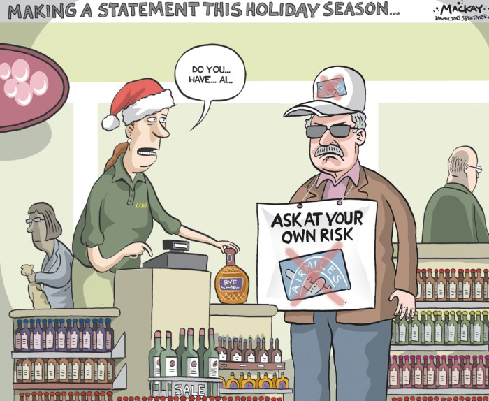 Editorial Cartoon by Graeme MacKay, The Hamilton Spectator - Saturday, December 3, 2016 Air Miles collectors stuck with redeemed rewards Air Miles Canada says it won't reimburse collectors who spent their points in anticipation of an expiration policy that will no longer take effect at the end of the year. The company that runs the Air Miles loyalty points program, LoyaltyOne, announced Thursday it was cancelling plans that would have seen collectors lose miles older than five years. While some celebrated the news, others — who had scrambled to redeem their miles ahead of the expiry — were angered by the about face. Air Miles Canada's Twitter account told two customers the company would not be reimbursing collectors who spent their points to avoid having them expire. The account sent tweets saying the company would not accept returns, cancellations or exchanges due to the cancellation of the expiry policy, once booked. The Air Miles reward program launched in 1992 and has more than 11 million active collector accounts. (Source: Toronto Star) https://www.thestar.com/business/2016/12/02/air-miles-collectors-stuck-with-redeemed-rewards.html Ontario, Canada, Air Miles, loyalty, point cards, rewards, LCBO, consumer