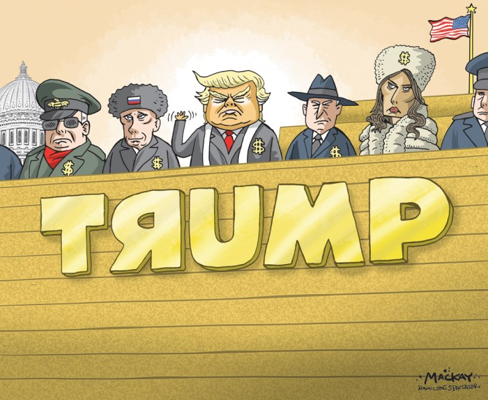 Editorial Cartoon by Graeme MacKay, The Hamilton Spectator - Saturday December 17, 2016 Donald TrumpÕs Denial About Russia No matter how divided our politics and our times, Americans can agree thatÊour status as a strong, democratic nation rests on the bedrock of free andÊfair elections. That confidence is what was targeted whenÊRussia, one of ourÊoldest, most determined foreign adversaries, invaded American computerÊnetworks and released thousands of pages of documents to undermine theÊlegitimacy of the 2016 election. This news emerged last summer. Last month, theÊCentral IntelligenceÊAgencyÊshared aÊfurther conclusion,Êbased on months of analysis, that theÊRussian hacking was intended to favorÊDonald Trump. ÒThere shouldnÕt be any doubt in anybodyÕs mind,Ó Adm. Michael Rogers,Êthe director of the National Security Agency and commander of UnitedÊStates Cyber Command,ÊsaidÊrecently. ÒThis was not something that wasÊdone casually, this was not something that was done by chance, this was notÊa target that was selected purely arbitrarily,Ó he said. ÒThis was a consciousÊeffort by a nation-state to attempt to achieve a specific effect.Ó Extrapolating motive from evidence is always tricky. But after the C.I.A.Êprovided classified briefings for Congress and the White House, members ofÊboth political parties were convinced. But not President-elect Trump. Mr. TrumpÕs instant rejection of the C.I.A. findings as Òridiculous,Ó based onÊno review of its work, echoed MoscowÕs. ÒThis tale of ÔhacksÕ resembles aÊbanal brawl between American security officials over spheres of influence,ÓÊMaria Zakharova, the spokeswoman for the Russian Foreign Ministry,Êwrote on Facebook. Mr. TrumpÊsaidÊof American security officials, ÒTheyÕreÊfighting among themselves.Ó (Continued: New York Times) USA, Russia, Donald Trump, Melania Trump, Vladimir Putin, Red Square, Diplomacy, military, politburo, cabinet