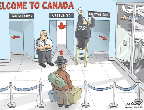 "Editorial Cartoon by Graeme MacKay, Editorial Cartoonist, The Hamilton Spectator - Thursday July 16, 2009 Minister calls for overhaul of Canada's refugee system Canada needs a refugee-claims system that will quickly turn away those who falsely claim persecution to take advantage of the country'sÊgenerosity, Immigration Minister Jason Kenney says. Imposing visa restrictions on Czechs and Mexicans was necessary to stem a rising flow of claimants, he said, but what is really needed isÊan asylum system that accepts or rejects refugees quickly - and he indicated he is working on a reform proposal: ""Stay tuned,"" he said. The decision to introduce a visa requirement was met by howls of protest, with the Czechs recalling their ambassador in protest andÊMexico also stating its unhappiness. For Mr. Kenney, it wouldn't be necessary to impose visa restrictions to stem the flow of asylum-seekers if false claimants knew beforeÊcoming that their cases would be heard swiftly and they would be returned home immediately after a decision was made. ""This does underscore the need to reform our asylum system so that it ensures that real victims of persecution get swift relief andÊprotection in Canada, and that economic migrants seeking to abuse our generosity are shown to the door quickly,"" he said. Although he would not say precisely what reforms he has in mind, the government is studying changes made by Britain in 2004. It is considering borrowing ideas like giving immigration officers the first decision on refugee claims rather than a tribunal, reducingÊlayers of appeals, and fast-tracking claims from countries that are generally considered safe in an effort to send home rejected claimantsÊsooner. (Source: The Globe & Mail)http://www.theglobeandmail.com/news/national/minister-calls-for-overhaul-of-canadas-refugee-system/article1218679/ Canada, Jason Kenney, Immigration, immigrants, refugee, citizenship, airport, restrictions, visa"