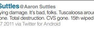Tuscaloosa News, Aaron Suttles, Twitter, tornado