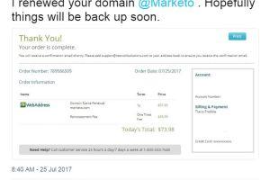 Marketo's site down, Travis helps