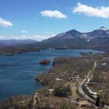 桧原湖から磐梯山を空撮、フライト#1,福島県