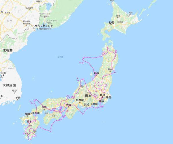 北海道の大きさ、四国と九州は、すっぽり入るぐらい、東京から青森・徳島、徳島から鹿児島ぐらい広い