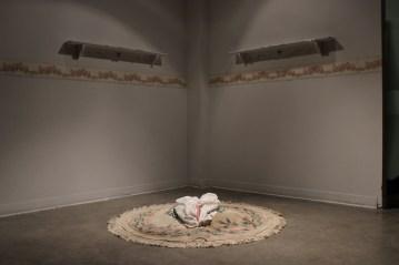 Femininity. Wood, wallpaper, rug, fabric, stuffing. 2016.