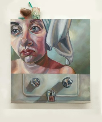 Toilette I. Oil on panel, found objects. 2015.