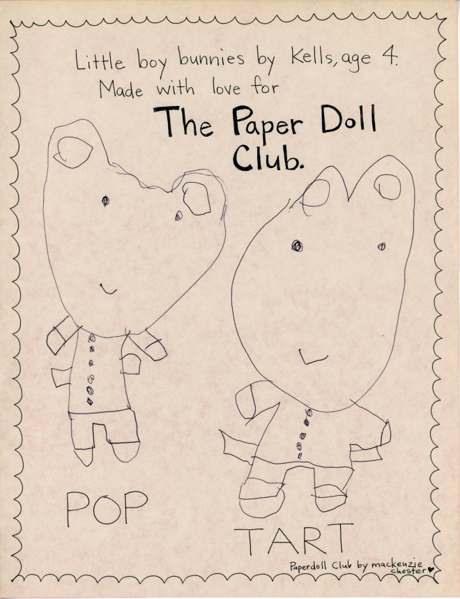 Paper Doll Bunnies made by Kells for the Paper Doll Club