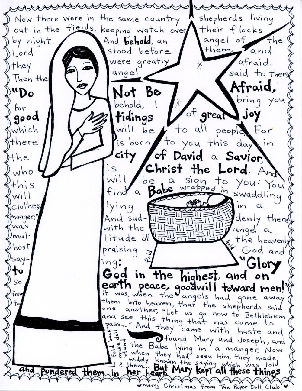 nativity paper doll club