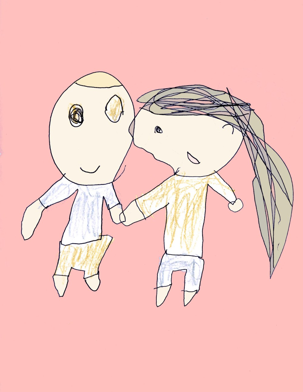 Boy and Girl by Kells with color small, age 4
