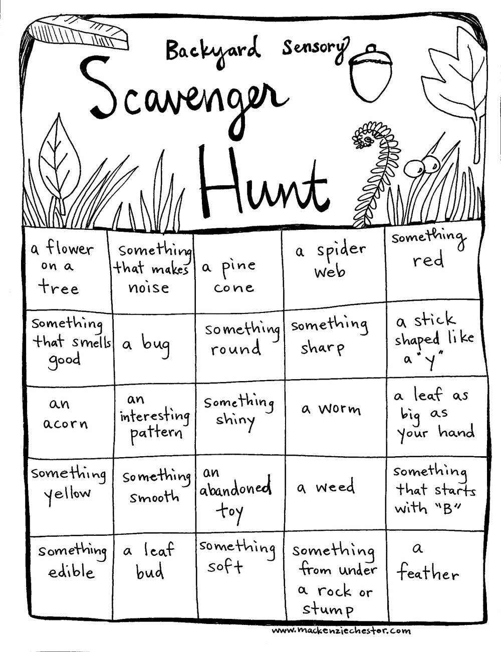 sensory processing scavenger hunt free printable resources outdoor activities creative family culture, creative family idea box, sacred everyday