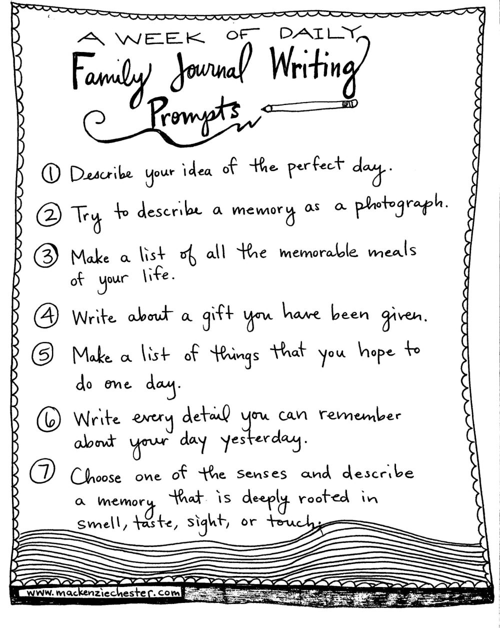 family journal writing prompts, free printable, 7 days of free writing prompts, family time, homeschool