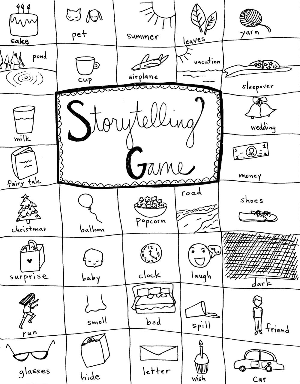 Storytelling Game Handout, free printable from the Creative Family Idea Box by Mackenzie Chester
