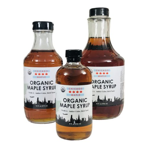 Jars of organic maple syrup from Chicago Maple