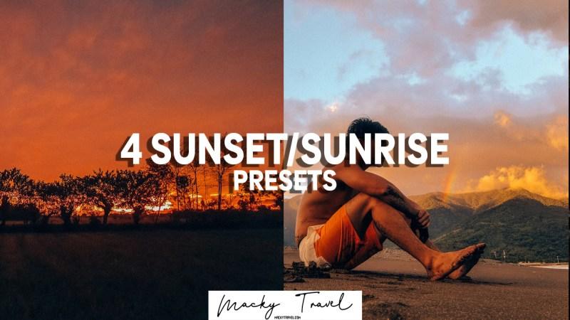 4 sunset sunrise lightroom presets
