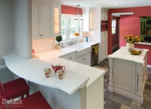 Coarse Carrara Zodiaq Quartz Countertops , Peninsula Breakfast Bar and Island Newtown Square PA by MacLaren