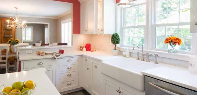 Farmhouse style sink with Coarse Carrara Quartz Countertops in Newton Square PA by MacLaren