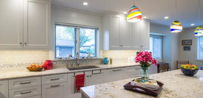 Ecclectic Kitchen in West Chester PA with Windermere Cambria Quartz Island Countertops with eased edge by MacLaren