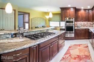Island Range Top with Waypoint Cabinetry in Cherry Wood