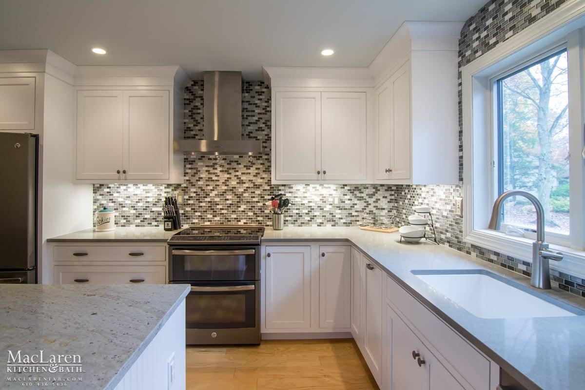 Transitional Granite And Quartz Grey Scale Kitchen