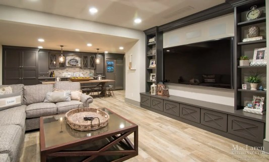 Man Cave Tv Room with Open Concept into Wet Bar and Dining Area By MacLaren Kitchen and Bath