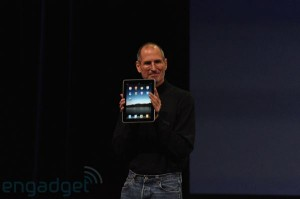 Steve Jobs showing off the new Apple Tablet iPad