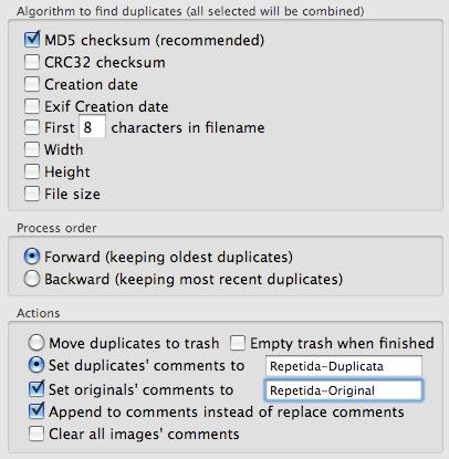 Opções do Duplicate Annihilator