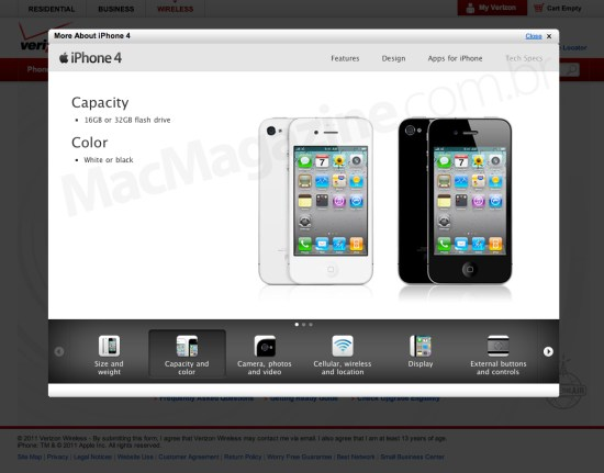 iPhone 4 branco na Verizon?