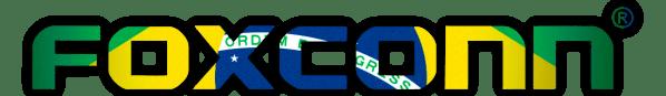 Logo da Foxconn e bandeira do Brasil